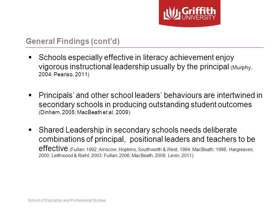 School of Education and Professional Studies  Schools especially effective in literacy achievement enjoy vigorous instructional leadership usually by the principal (Murphy, 2004; Peariso, 2011)  Principals' and other school leaders' behaviours are intertwined in secondary schools in producing outstanding student outcomes (Dinham, 2005; MacBeath et al, 2009)  Shared Leadership in secondary schools needs deliberate combinations of principal, positional leaders and teachers to be effective (Fullan, 1992; Ainscow, Hopkins, Southworth & West, 1994; MacBeath, 1998; Hargreaves, 2000; Leithwood & Riehl, 2003; Fullan, 2006; MacBeath, 2009; Levin, 2011) General Findings (cont'd)