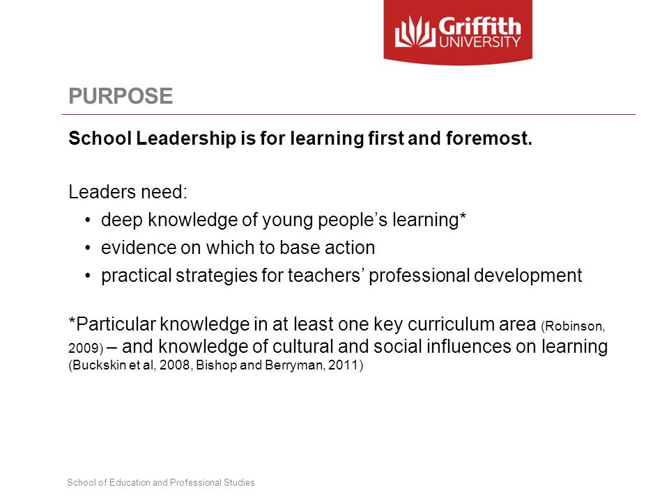 PURPOSE School Leadership is for learning first and foremost. Leaders need: deep knowledge of young people's learning* evidence on which to base actio
