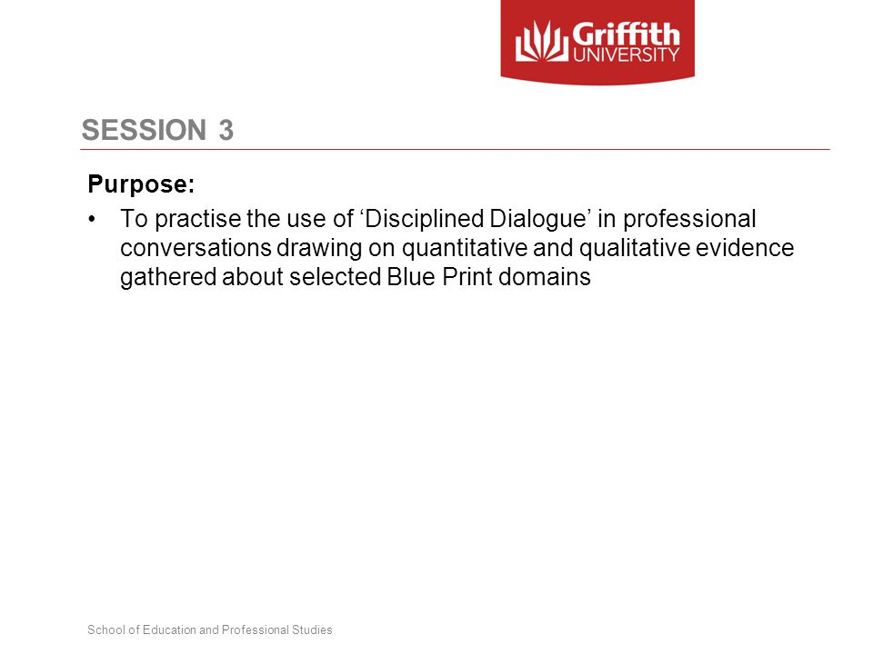 School of Education and Professional Studies SESSION 3 Purpose: To practise the use of 'Disciplined Dialogue' in professional conversations drawing on