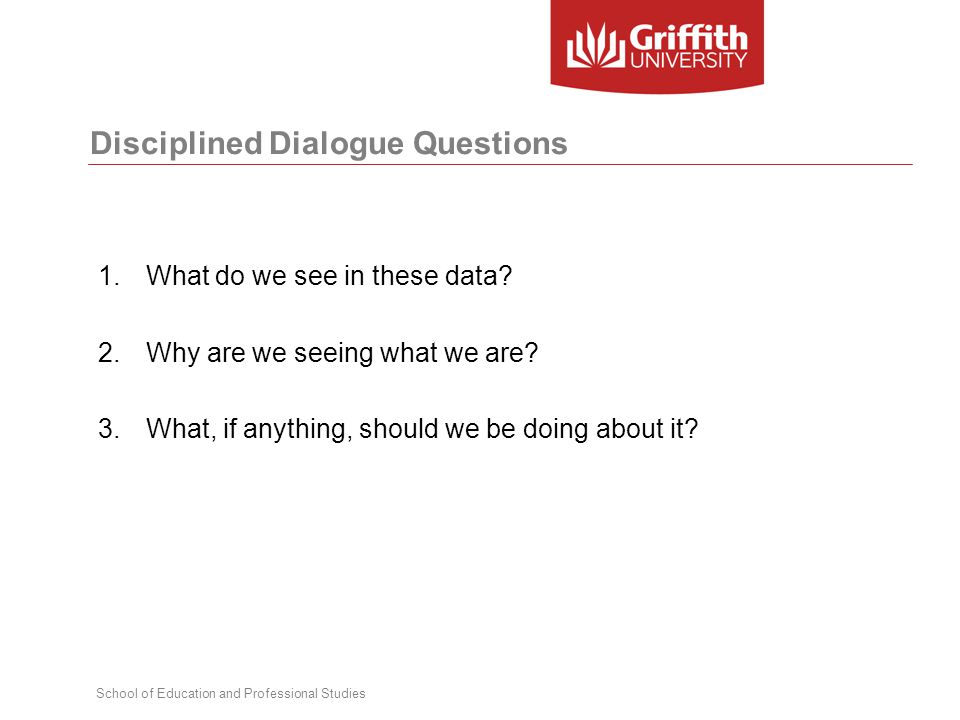 School of Education and Professional Studies Disciplined Dialogue Questions 1.What do we see in these data.