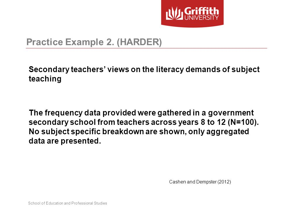School of Education and Professional Studies Practice Example 2. (HARDER) Secondary teachers' views on the literacy demands of subject teaching The fr