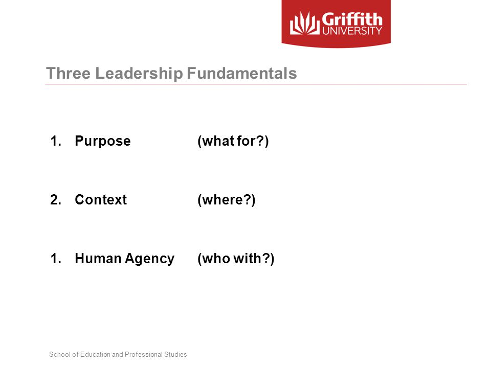 School of Education and Professional Studies Three Leadership Fundamentals 1.Purpose (what for ) 2.Context (where ) 1.Human Agency (who with )