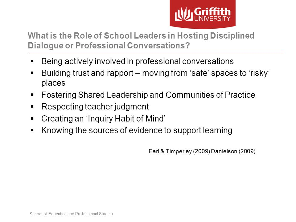 School of Education and Professional Studies What is the Role of School Leaders in Hosting Disciplined Dialogue or Professional Conversations?  Being