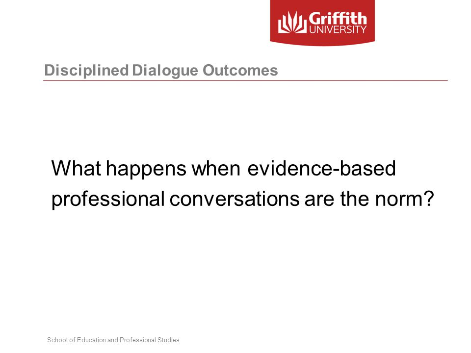 School of Education and Professional Studies Disciplined Dialogue Outcomes What happens when evidence-based professional conversations are the norm?