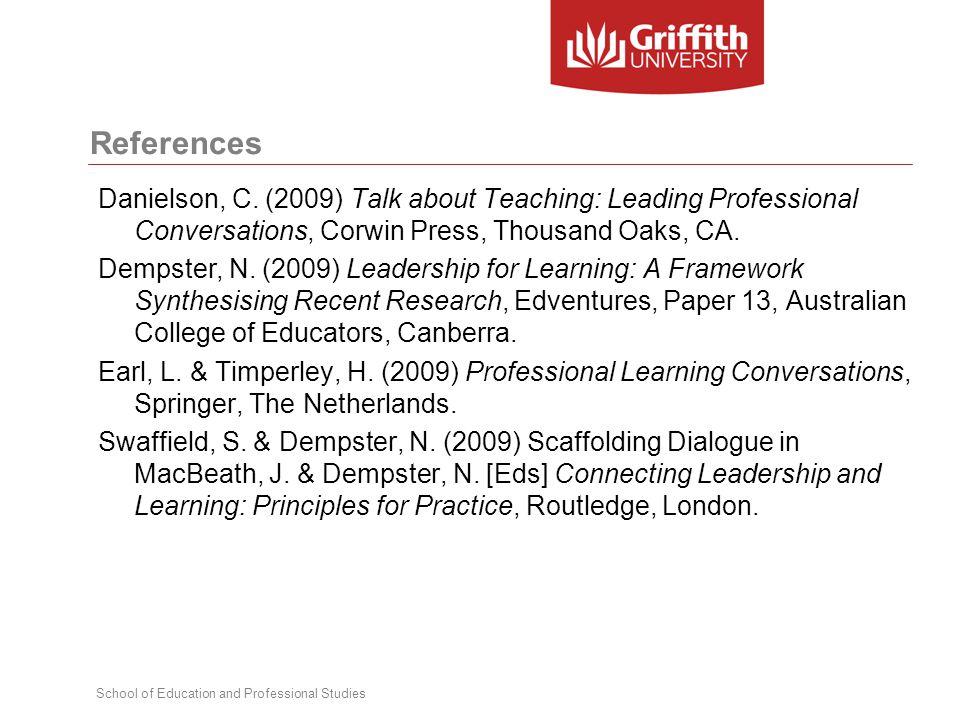 School of Education and Professional Studies References Danielson, C. (2009) Talk about Teaching: Leading Professional Conversations, Corwin Press, Th