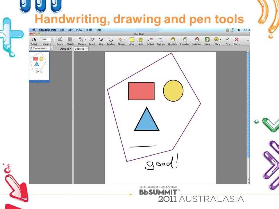 Handwriting, drawing and pen tools