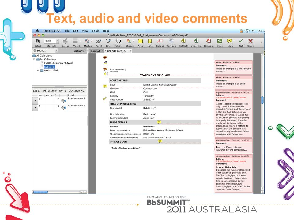 Text, audio and video comments