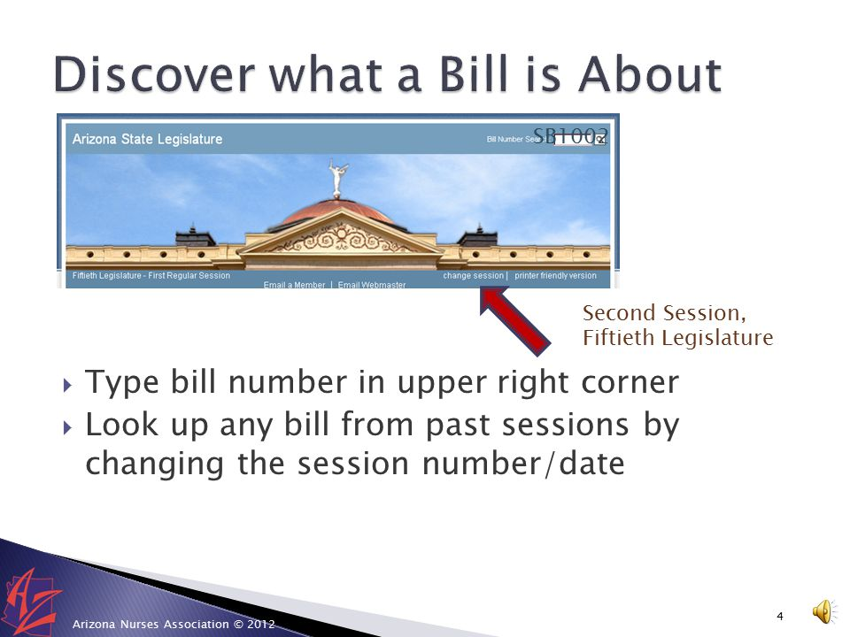  Bills: discover what a bill is about  Arizona Revised Statutes: research laws  ALIS Tracking: personalize a tracking system  How do I find my legislator: demystify your legislator  Request to Speak: lobby in your pajamas  Live Proceedings: watch proceedings any time 3 Arizona Nurses Association © 2012