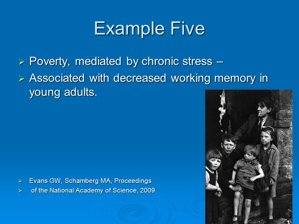 Example Five  Poverty, mediated by chronic stress –  Associated with decreased working memory in young adults.  Evans GW, Schamberg MA, Proceedings