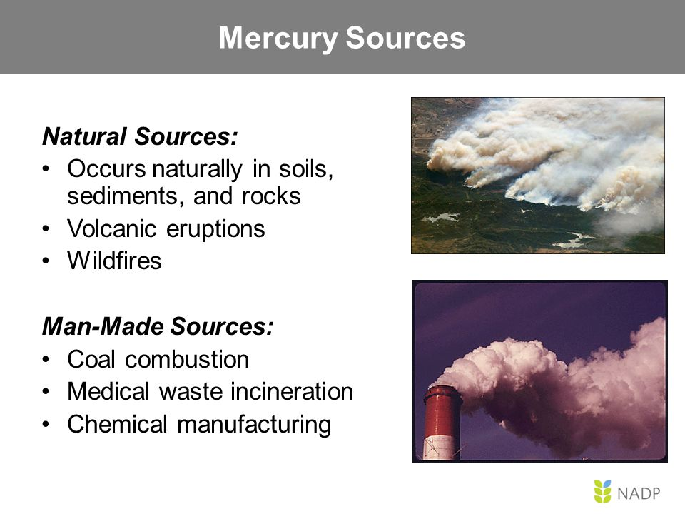 Natural Sources: Occurs naturally in soils, sediments, and rocks Volcanic eruptions Wildfires Man-Made Sources: Coal combustion Medical waste incinera