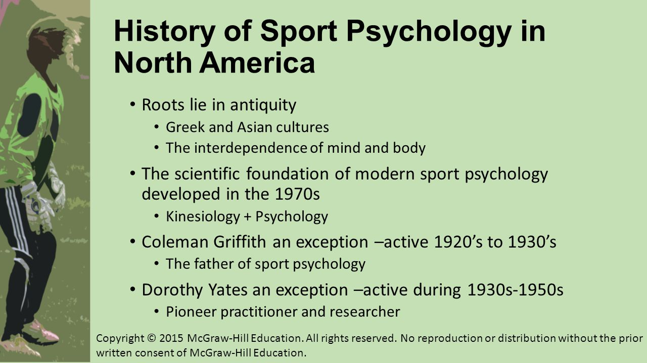 1965-1979: Birth of Sport Psychology and Supporting Organizations Clinical psychologists Bruce Ogilvie and Tom Tutko Problem Athletes and How to Handle Them (1966) Formation of first sport psychology professional organizations throughout the 1960s Research, conferences, journals…lots of NETWORKING Sport psychology on the rise in the 1970s Topics diverse and many target populations Applied work was discouraged Copyright © 2015 McGraw-Hill Education.