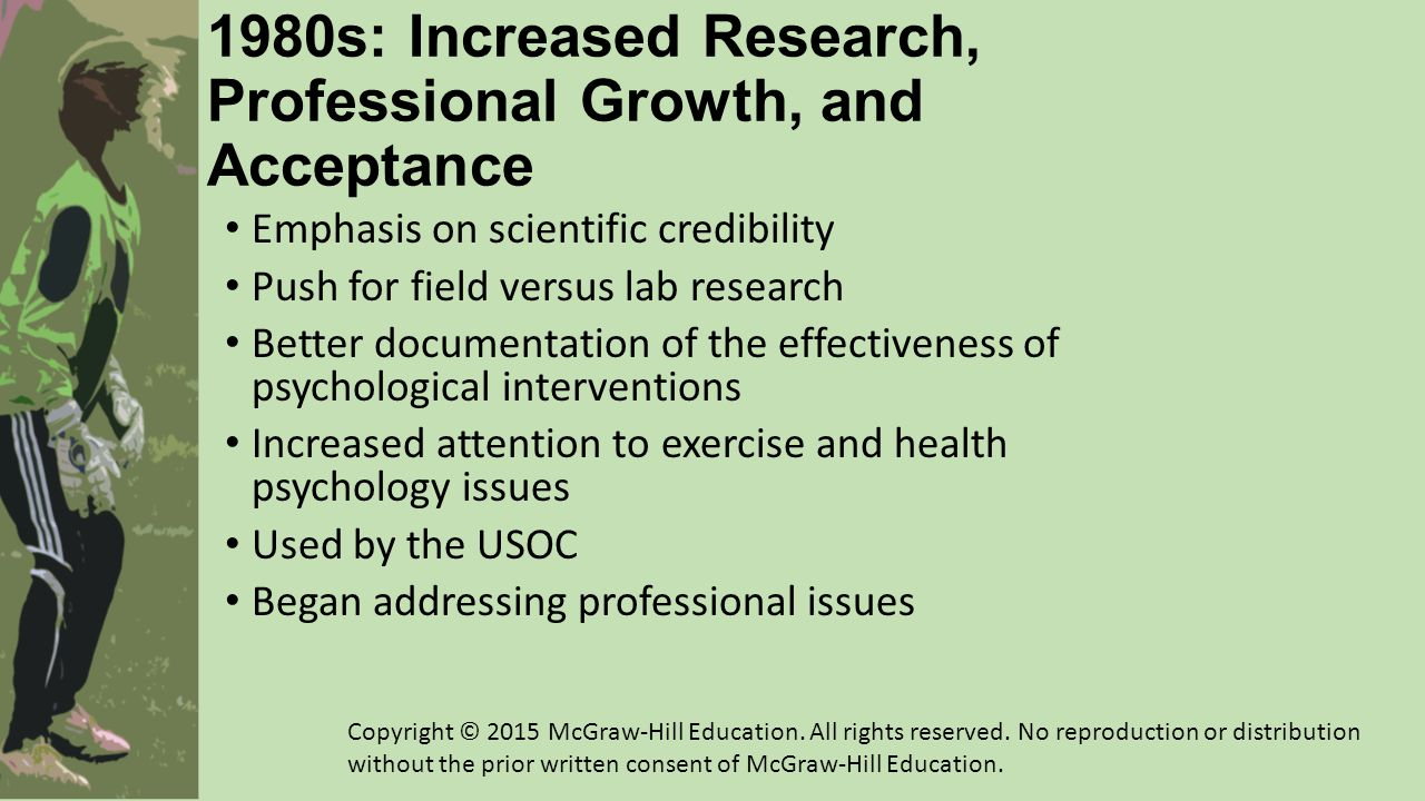 1990-2013: Progress in Research, Application, and Professional Issues Intervention research A time of emerging diversity in methods, paradigms, and epistemology Single-subject designs, qualitative studies, and a cultural turn Training sport psychology consultants Ethics Job market Teaching and research in sport sciences Teaching and research in psychology Consulting with athletes and other populations Applying sport psychology skills across diverse contexts Growth in exercise psychology Copyright © 2015 McGraw-Hill Education.