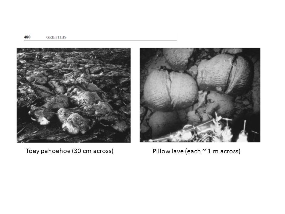 Toey pahoehoe (30 cm across) Pillow lave (each ~ 1 m across)