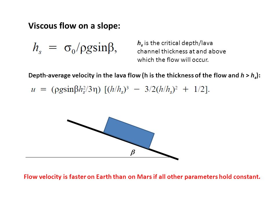 Viscous flow on a slope:  h s is the critical depth/lava channel thickness at and above which the flow will occur. Depth-average velocity in the lava