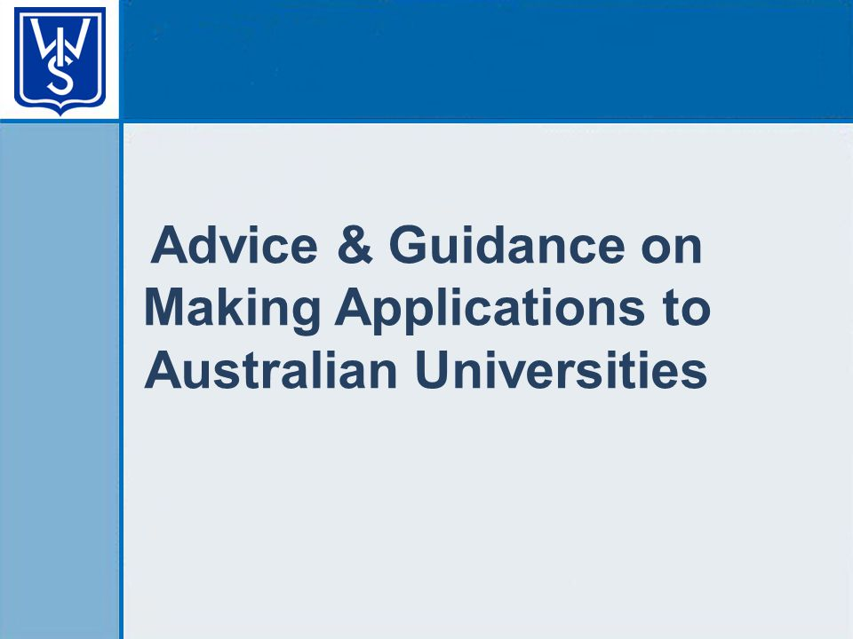 Advice & Guidance on Making Applications to Australian Universities