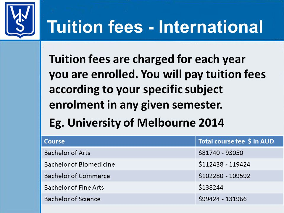 Tuition fees are charged for each year you are enrolled.