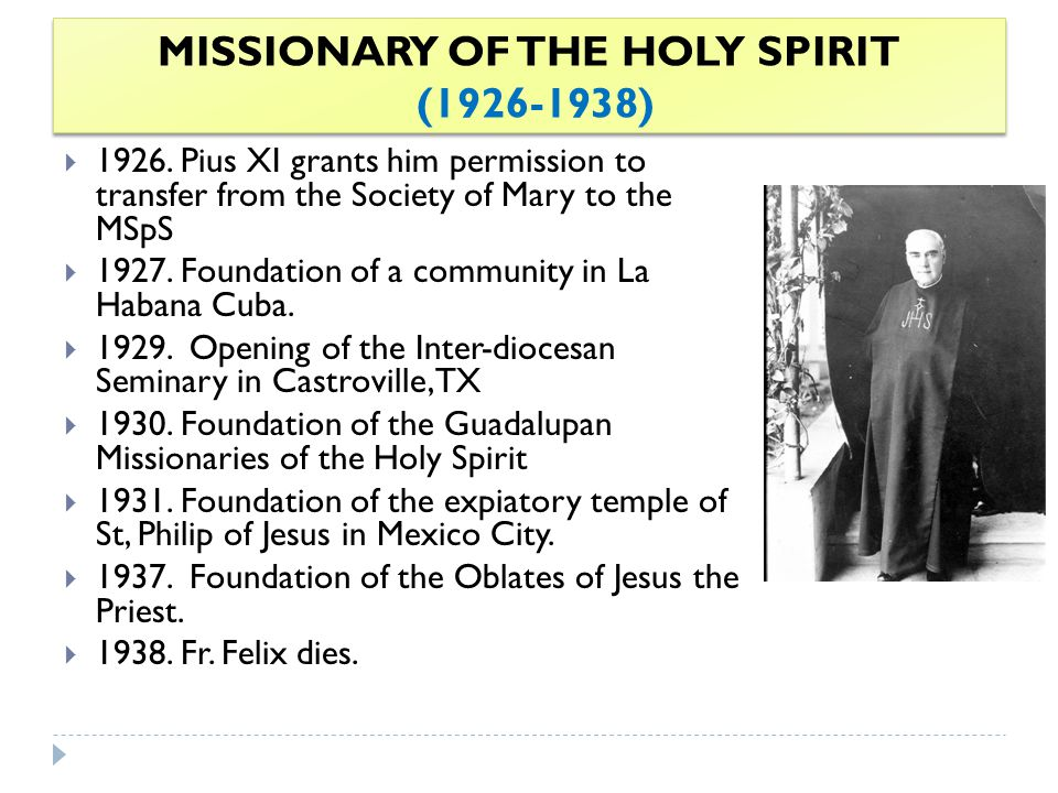 MISSIONARY OF THE HOLY SPIRIT (1926-1938)  1926.