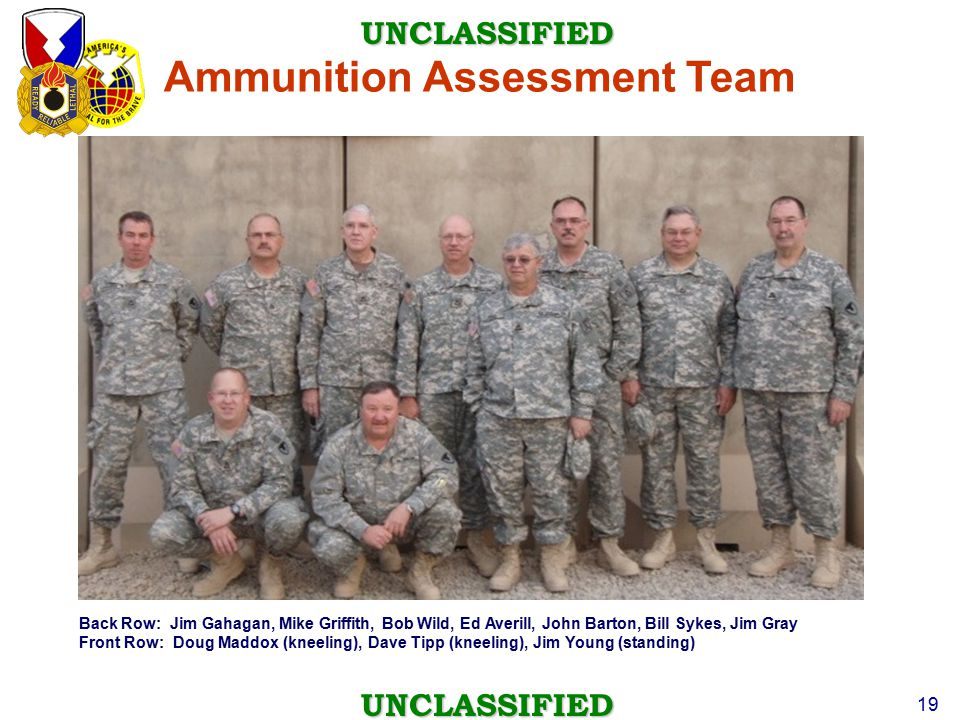 UNCLASSIFIED UNCLASSIFIED 19 Back Row: Jim Gahagan, Mike Griffith, Bob Wild, Ed Averill, John Barton, Bill Sykes, Jim Gray Front Row: Doug Maddox (kne
