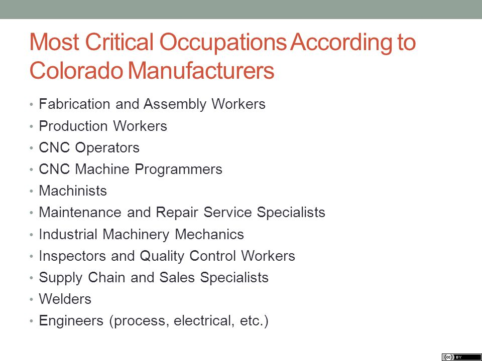 Most Critical Occupations According to Colorado Manufacturers Fabrication and Assembly Workers Production Workers CNC Operators CNC Machine Programmers Machinists Maintenance and Repair Service Specialists Industrial Machinery Mechanics Inspectors and Quality Control Workers Supply Chain and Sales Specialists Welders Engineers (process, electrical, etc.)