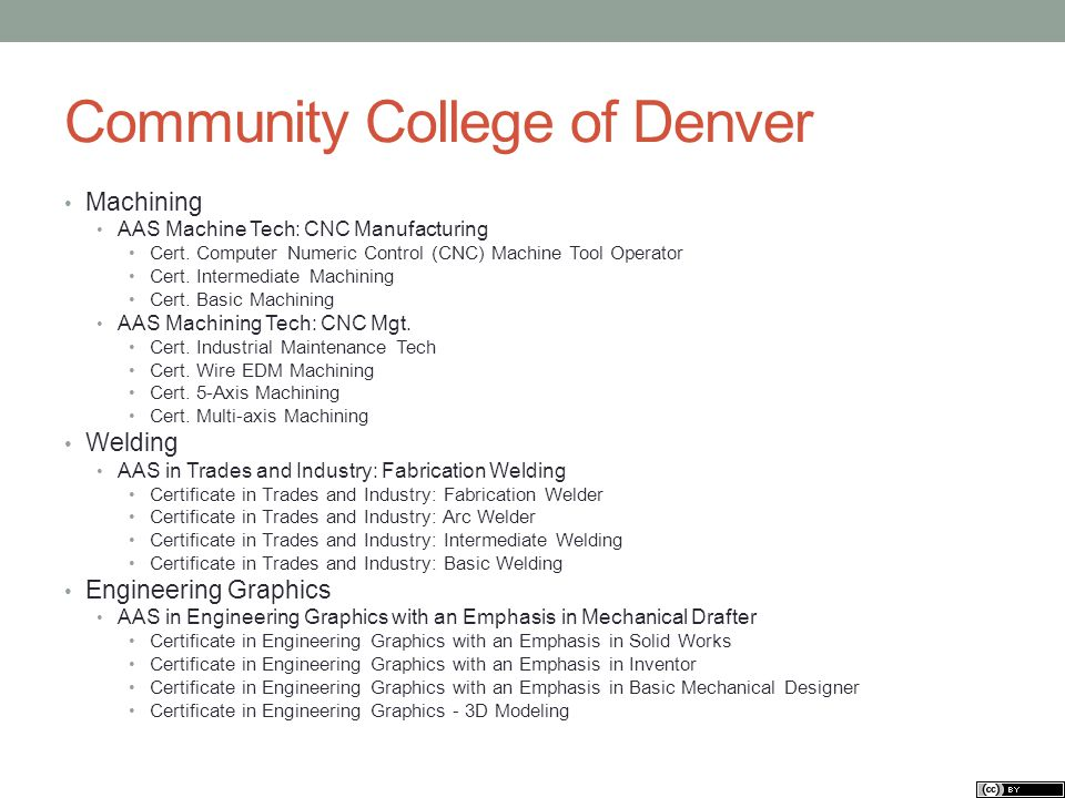 Community College of Denver Machining AAS Machine Tech: CNC Manufacturing Cert.