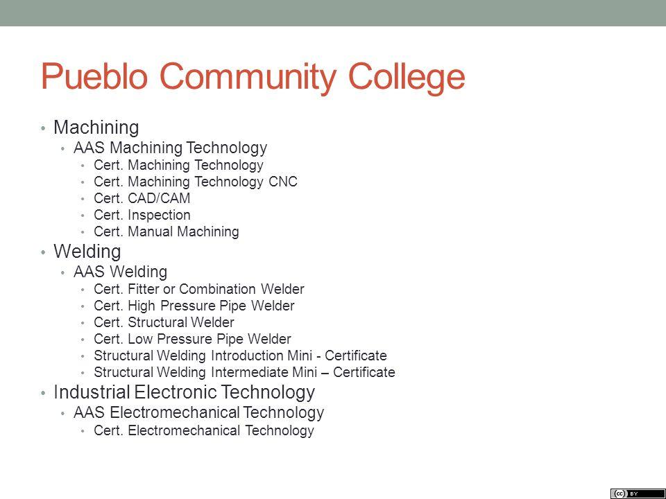 Pueblo Community College Machining AAS Machining Technology Cert. Machining Technology Cert. Machining Technology CNC Cert. CAD/CAM Cert. Inspection C