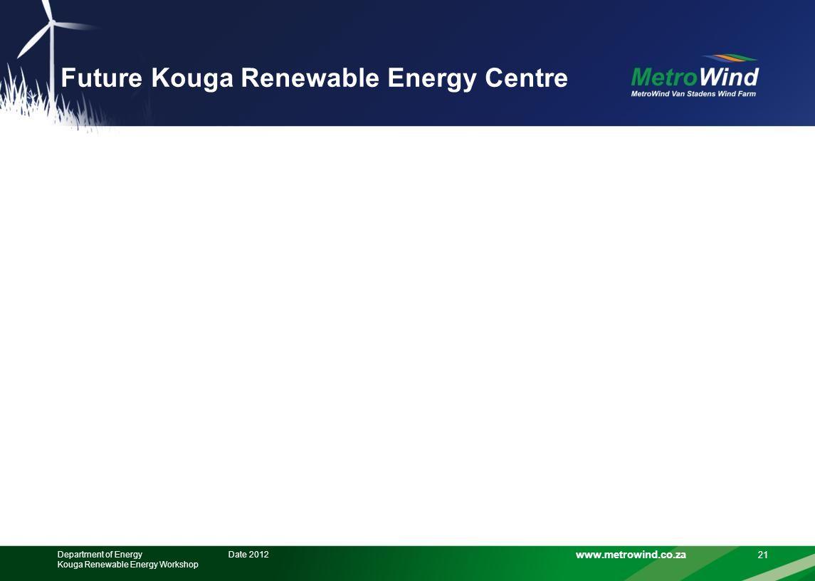 www.metrowind.co.za Future Kouga Renewable Energy Centre 21 Date 2012Department of Energy Kouga Renewable Energy Workshop