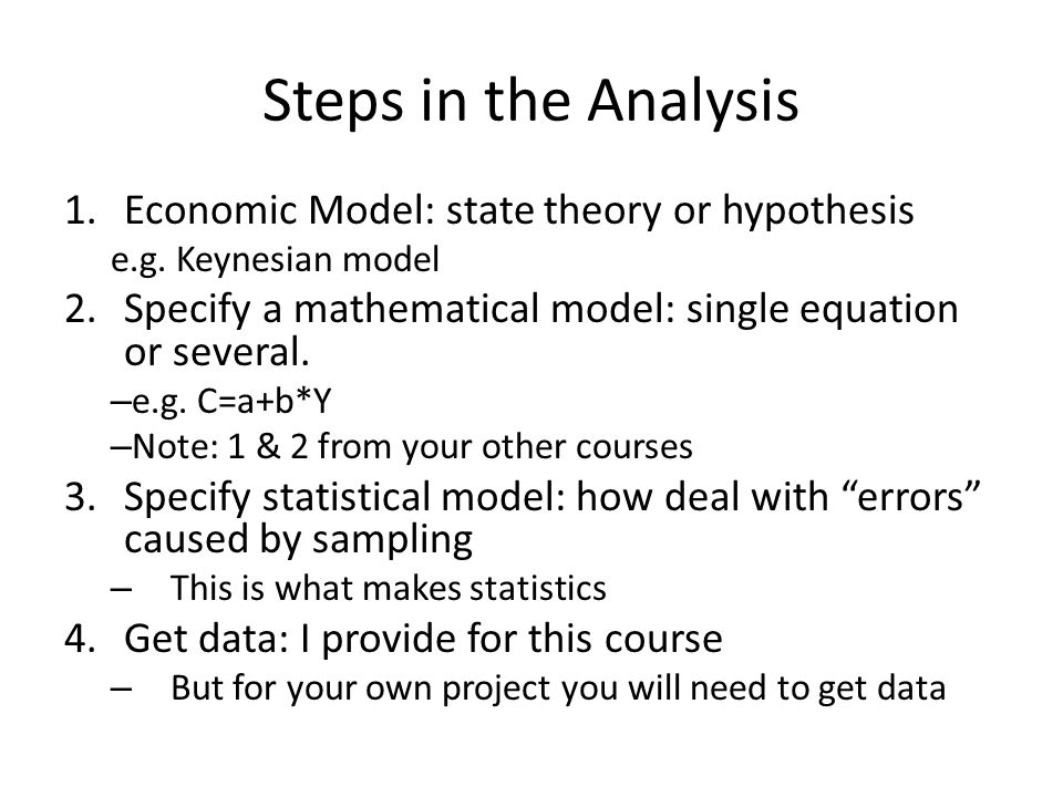 Steps in the Analysis 1.Economic Model: state theory or hypothesis e.g.