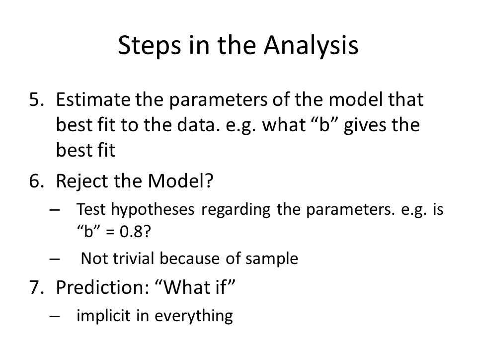 Steps in the Analysis 5.Estimate the parameters of the model that best fit to the data.