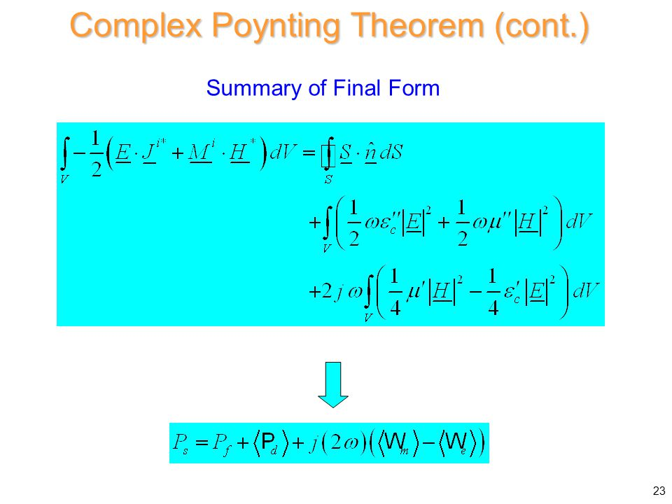 Complex Poynting Theorem (cont.) Summary of Final Form 23