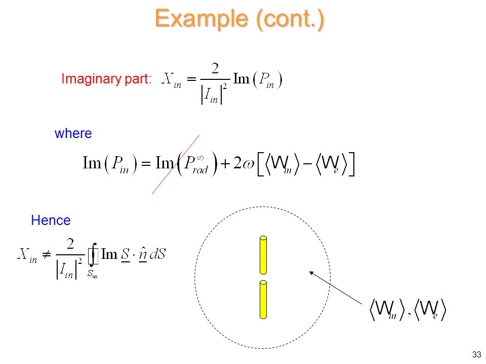 Example (cont.) Imaginary part: Hence where 33