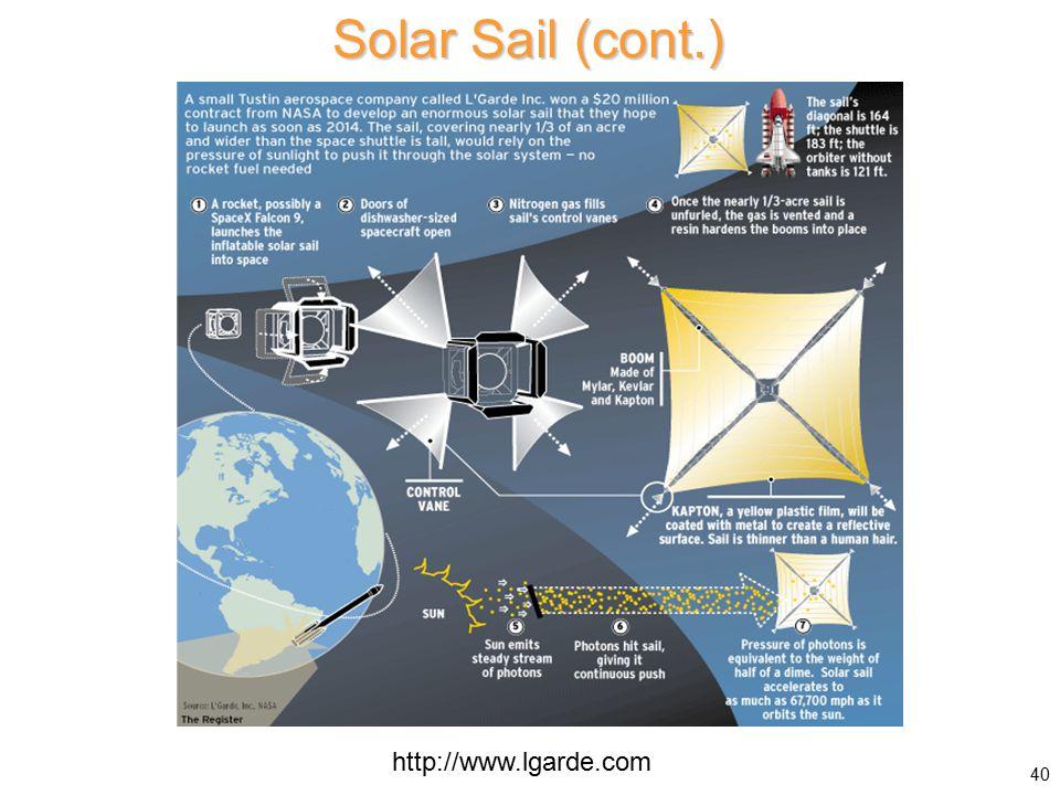 Solar Sail (cont.) 40 http://www.lgarde.com