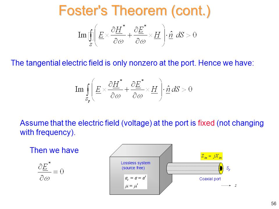 Foster s Theorem (cont.) The tangential electric field is only nonzero at the port.