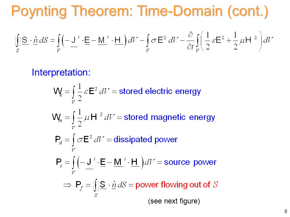 Interpretation: Poynting Theorem: Time-Domain (cont.) 8 (see next figure)