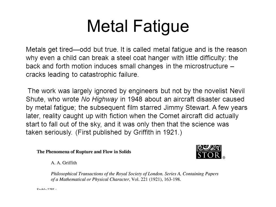 Metal Fatigue Metals get tired—odd but true.