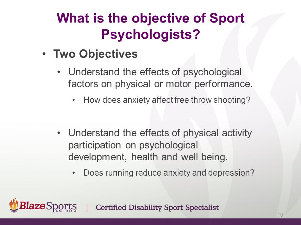 What is the objective of Sport Psychologists.