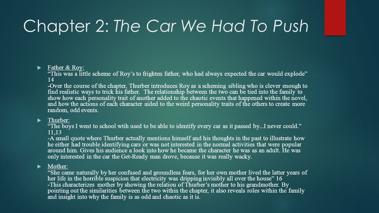 """Chapter 2: The Car We Had To Push  Father & Roy: """"This was a little scheme of Roy's to frighten father, who had always expected the car would explode"""