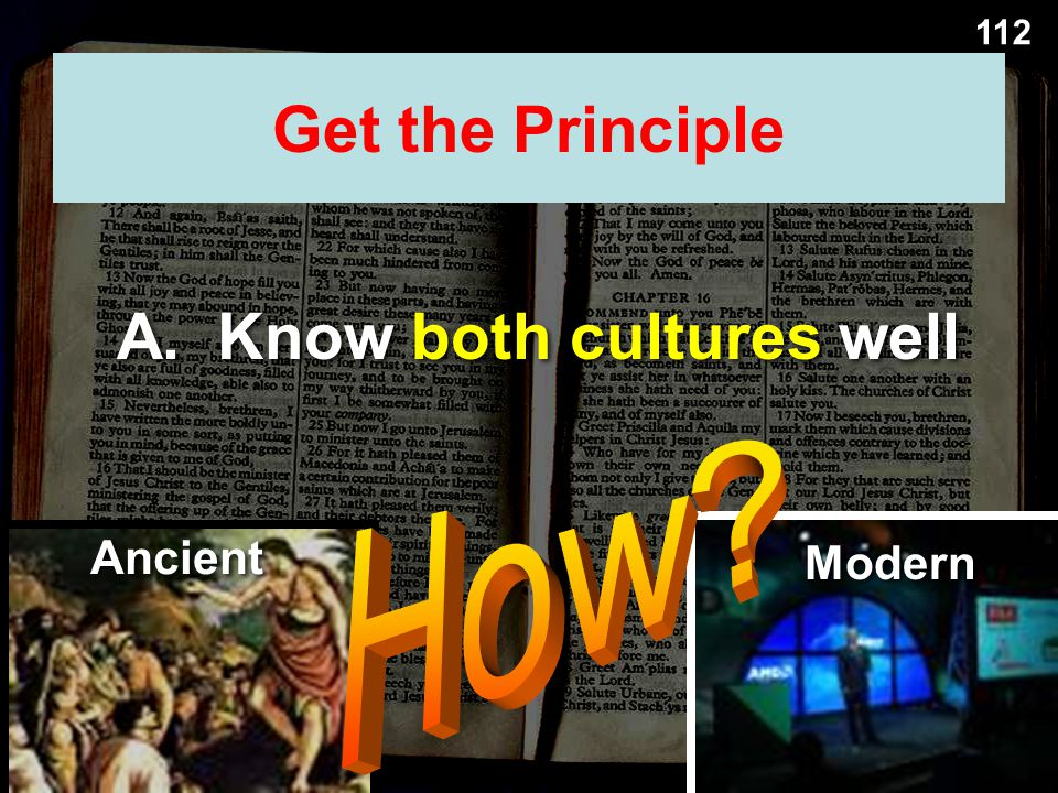 A. Know both cultures well Get the Principle Ancient Modern 112