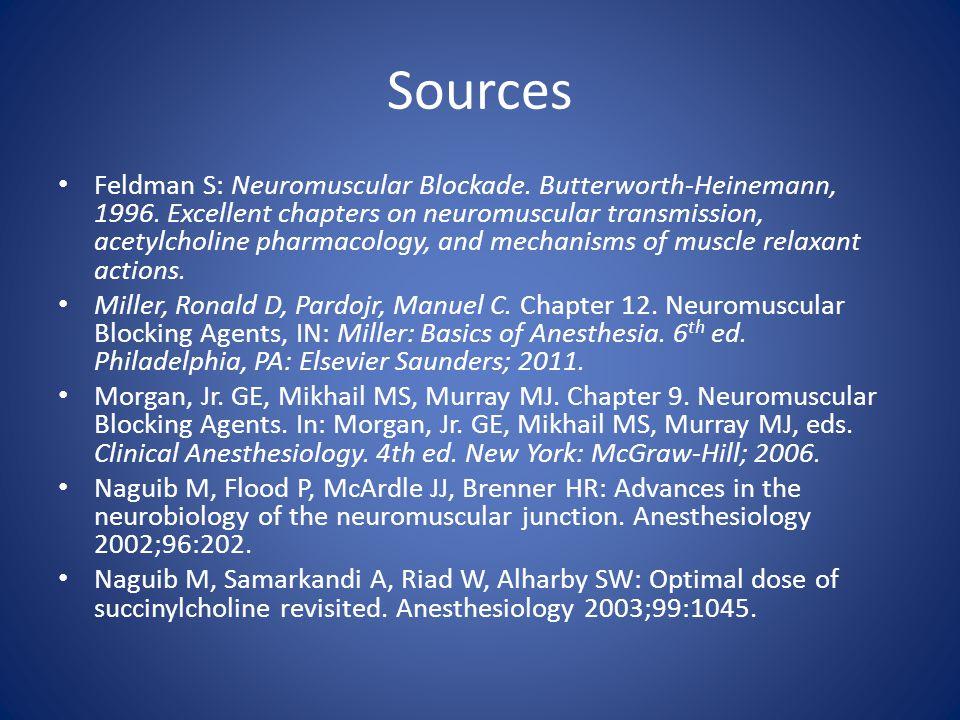 Sources Feldman S: Neuromuscular Blockade. Butterworth-Heinemann, 1996. Excellent chapters on neuromuscular transmission, acetylcholine pharmacology,