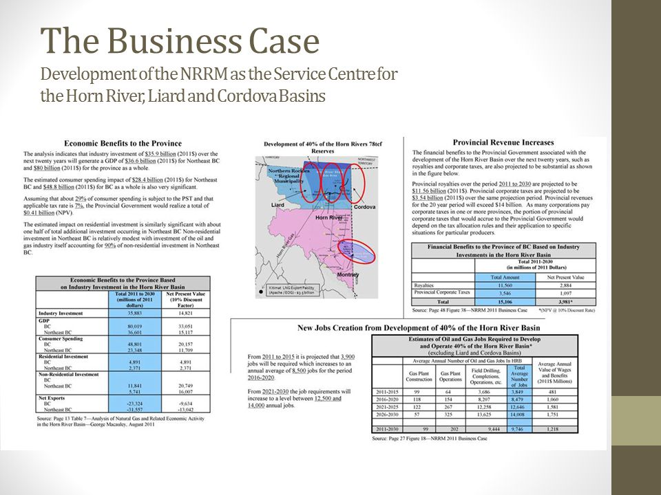 The Business Case Development of the NRRM as the Service Centre for the Horn River, Liard and Cordova Basins