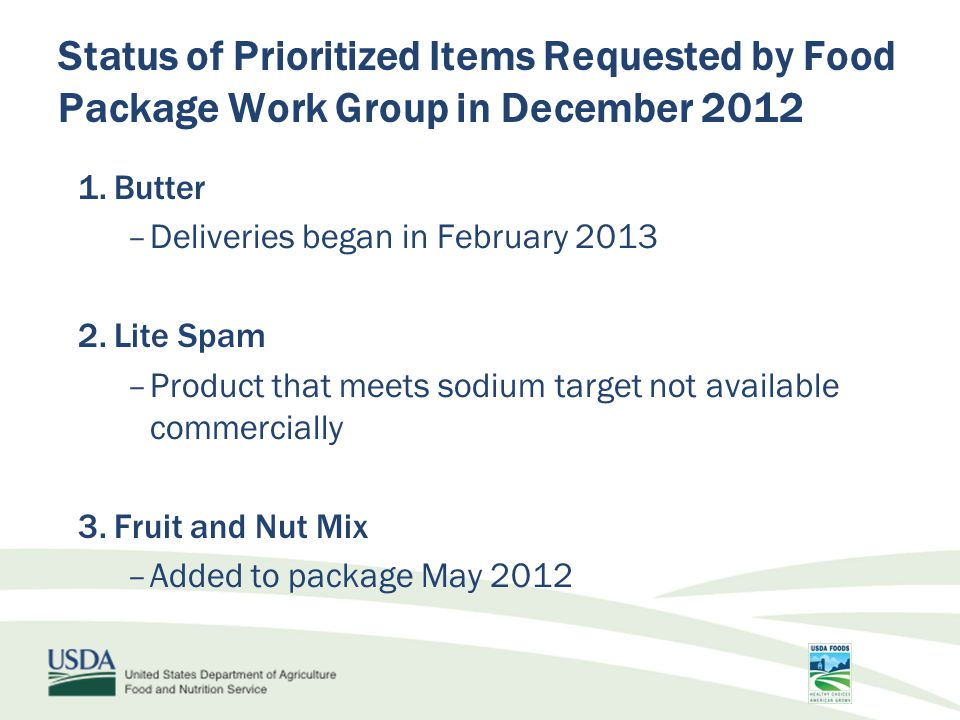 Status of Prioritized Items Requested by Food Package Work Group in December 2012 4.