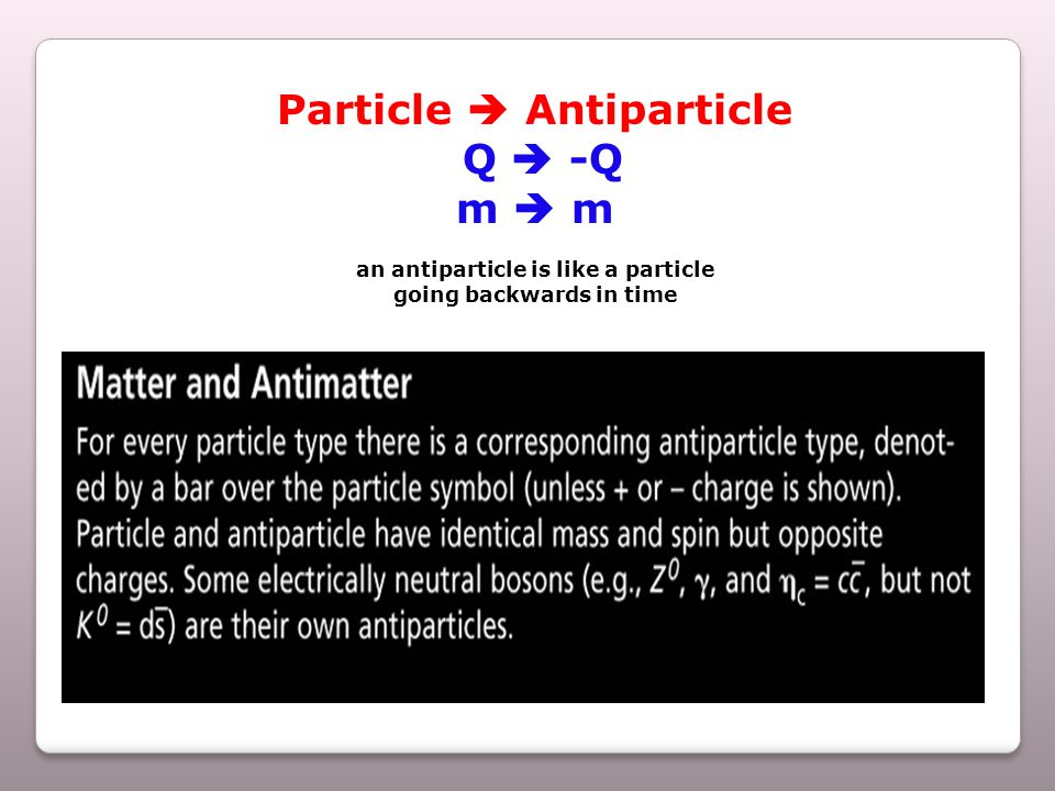 Particle  Antiparticle Q  -Q m  m an antiparticle is like a particle going backwards in time