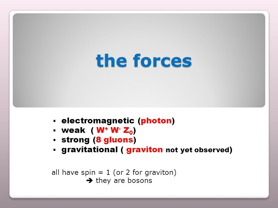 the forces the forces  electromagnetic (photon)  weak ( W + W - Z 0 )  strong (8 gluons)  gravitational ( graviton not yet observed ) all have spin = 1 (or 2 for graviton)  they are bosons