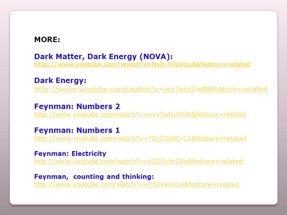 MORE: Dark Matter, Dark Energy (NOVA): http://www.youtube.com/watch v=NyZ-TH1OnLA&feature=related Dark Energy: http://www.youtube.com/watch v=jez3ato2re8&feature=related Feynman: Numbers 2 http://www.youtube.com/watch v=ovx7whviO3k&feature=related Feynman: Numbers 1 http://www.youtube.com/watch v=F0LCVp0C-Ck&feature=related Feynman: Electricity http://www.youtube.com/watch v=kS25vitrZ6g&feature=related Feynman, counting and thinking: http://www.youtube.com/watch v=lr8sVailoLw&feature=related