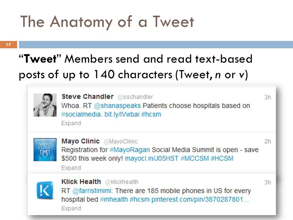 "The Anatomy of a Tweet ""Tweet"" Members send and read text-based posts of up to 140 characters (Tweet, n or v) 17"