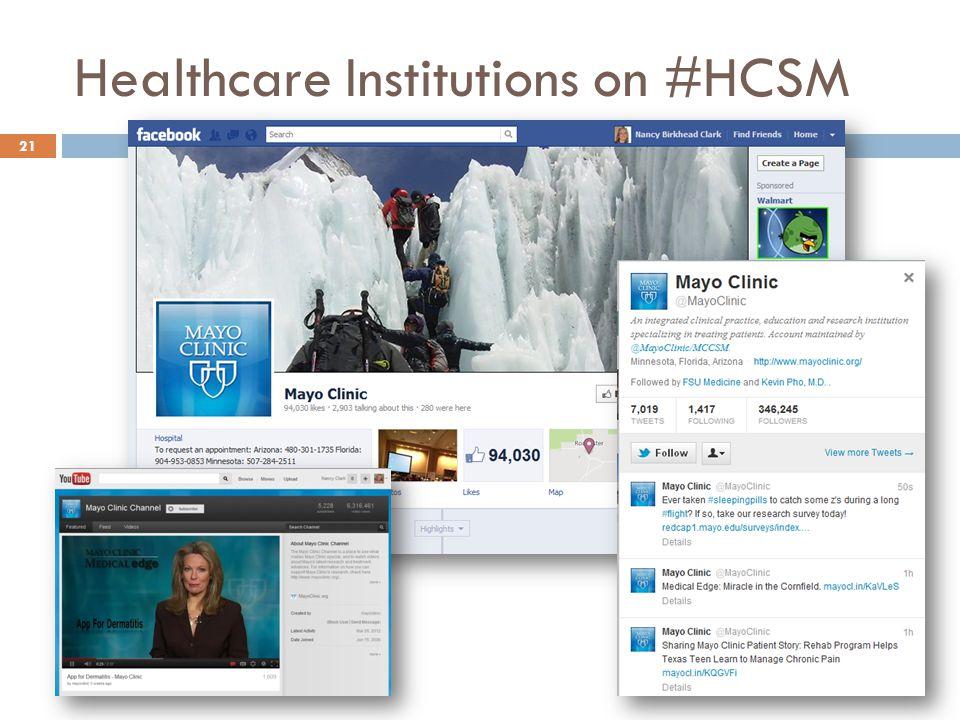 Healthcare Institutions on #HCSM 21