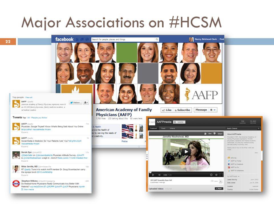 Major Associations on #HCSM 22