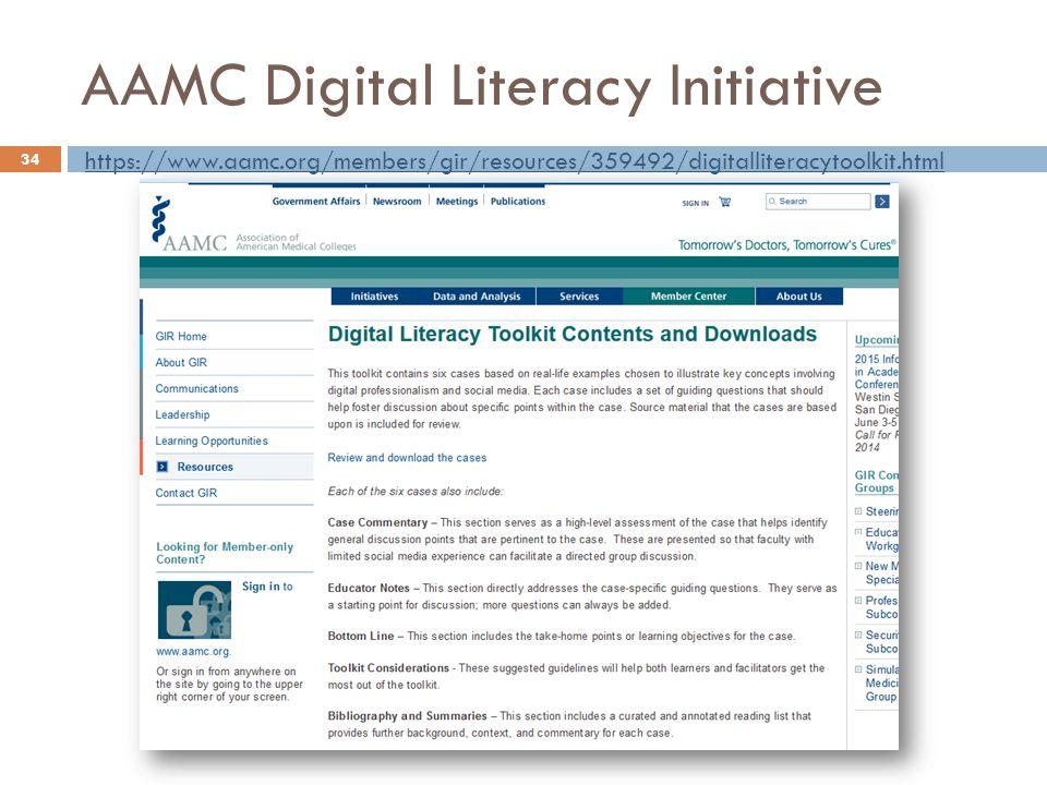 AAMC Digital Literacy Initiative 34 https://www.aamc.org/members/gir/resources/359492/digitalliteracytoolkit.html