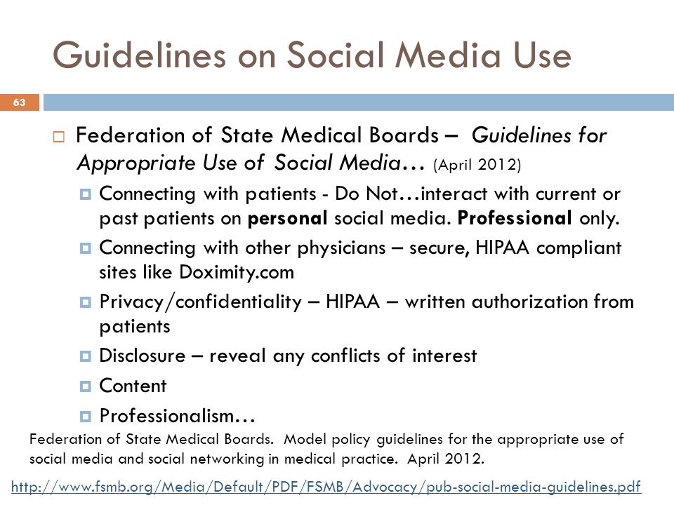 Guidelines on Social Media Use  Federation of State Medical Boards – Guidelines for Appropriate Use of Social Media… (April 2012)  Connecting with p