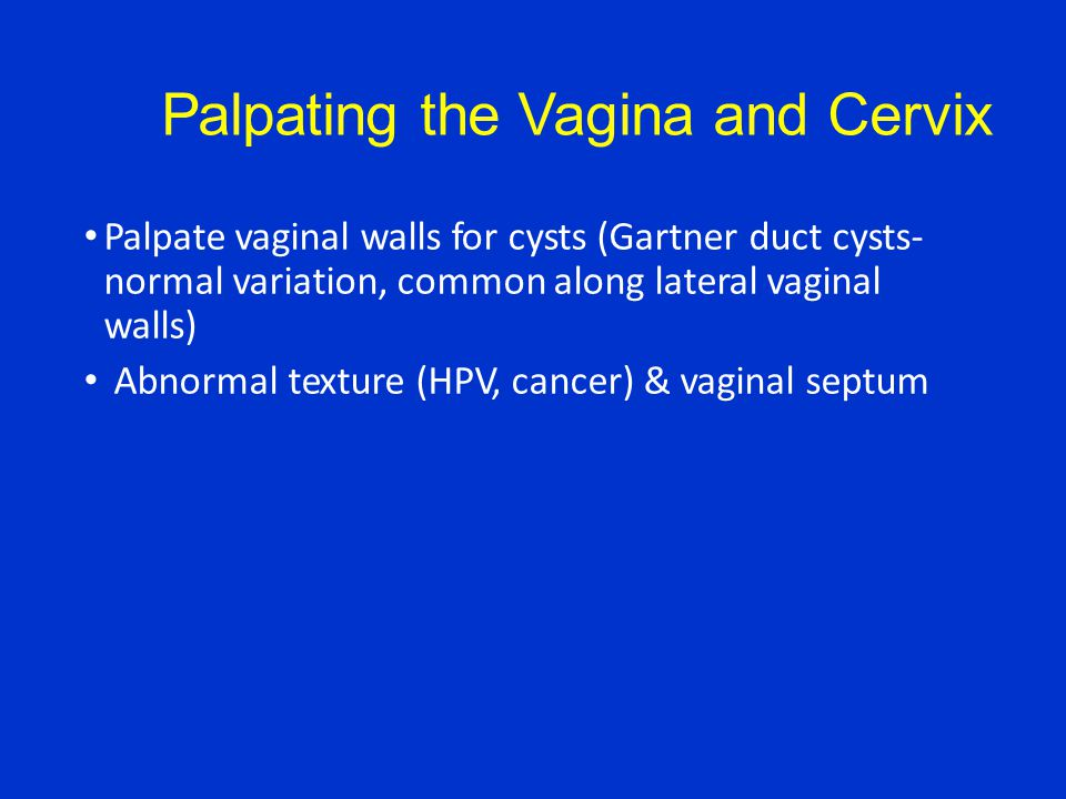 Palpating the Vagina and Cervix Palpate vaginal walls for cysts (Gartner duct cysts- normal variation, common along lateral vaginal walls) Abnormal texture (HPV, cancer) & vaginal septum