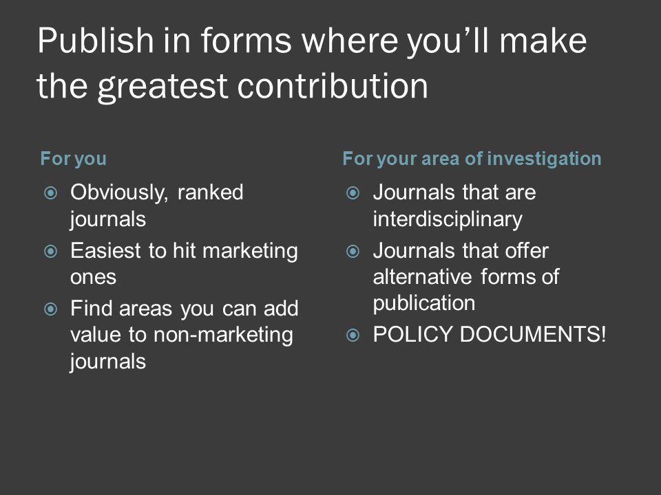 Publish in forms where you'll make the greatest contribution For youFor your area of investigation  Obviously, ranked journals  Easiest to hit marketing ones  Find areas you can add value to non-marketing journals  Journals that are interdisciplinary  Journals that offer alternative forms of publication  POLICY DOCUMENTS!